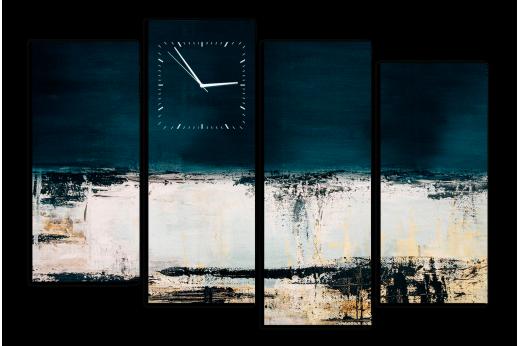 Модульная картина с часами Абстракция синяя